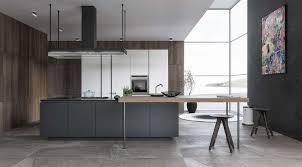 panneaux muraux cuisine cuisine design cuisine en gris et bois ilot gris graphite panneaux