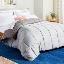 linenspa reversible stone charcoal down alternative king quilted