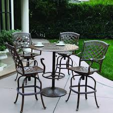 Patio Furniture Bar Set - darlee sedona 5 piece cast aluminum patio bar set with swivel bar