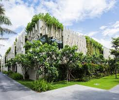 Lush Living Plants Engulf The Greenroofed Pure Spa In Vietnam - Who designed the vietnam wall