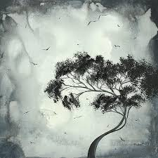black and white tree and birds painting in for sale