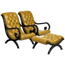 Leather Armchairs Vintage Vintage Tufted Leather Armchairs With Ottoman Jean Marc Fray