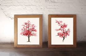 cherry blossom painting pink art print set of 2 watercolor
