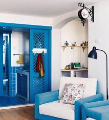 livingroom in white blue fusion for living room decorating