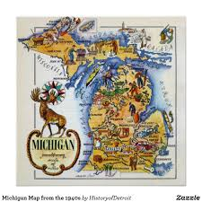 Iron Mountain Michigan Map by Michigan Map From The 1940s Poster Michigan Usa Mackinac Island