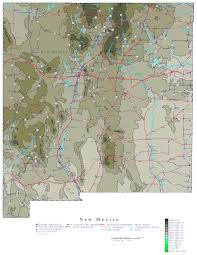 Map New Mexico by Large Detailed Elevation Map Of New Mexico State Vidiani Com