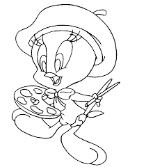 tweety painting coloring free coloring pages coloring