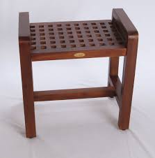amazon com contemporary teak shower stool 20