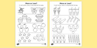 more or less colouring activity more or less quantity