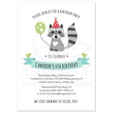 little raccoon with party hat and balloon birthday invitation for