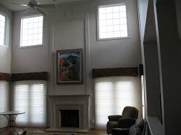 living room tall ceiling with fan design ideas with white fabric