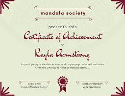 yoga class mandala achievement certificate templates by canva