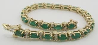 emerald diamond gold bracelet images 14k solid gold genuine emerald and diamond tennis bracelet jpg