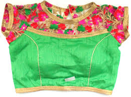 green silk blouse ready made blouse
