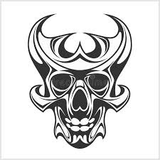 skull tattoo and tribal design isolated on white stock vector