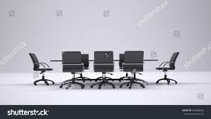 Office Table Front View Conference Table Chairs Front View Gray Stock Illustration