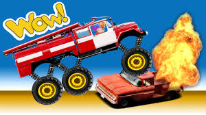 bigfoot presents meteor and the mighty monster trucks crazy clown max monster fire truck crush u0026 explosions stunts