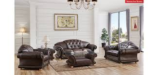 italian living room set versace living room set in brown italian leather by esf
