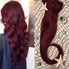 mermaid hair extensions burgundy hair extensions wine hair clip in hair