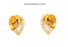 gold earrings for women images gold earrings for women in 22k gold with cz ger6629 indian