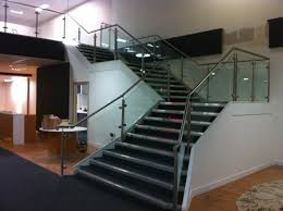 Stainless Steel Handrails For Stairs Stainless Steel Balustrade With Glass Infill Panels Up Staircase
