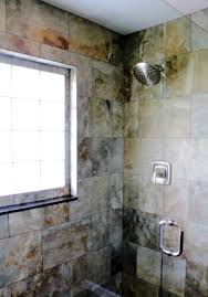 shower tile detail frame less shower enclosure brushed nickel