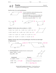properties of parallelograms worksheet lesson 6 2