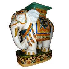 elephant end tables ceramic hand painted glazed majolica elephant garden table stool stools