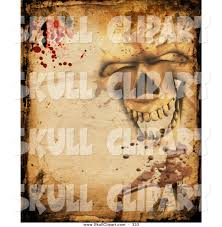 clip art of a creepy halloween background of a skull parchment