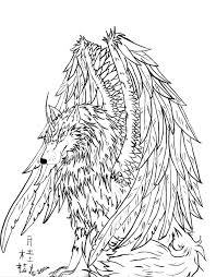 Dragon Winged Wolf Coloring Pages Puppy For Adults Winged Wolf Wolf Pack Coloring Pages