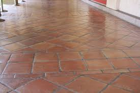 saltillo floor tile in a diagonal pattern home decor