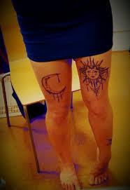 hippie sun moon thigh sunset tattoos