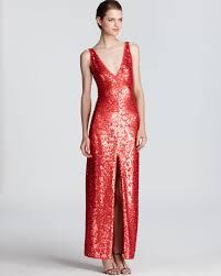 bcbgmaxazria sequin dress sleeveless v neck in red lyst