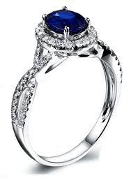 sapphire halo engagement rings 2 carat oval cut blue sapphire and halo engagement ring in