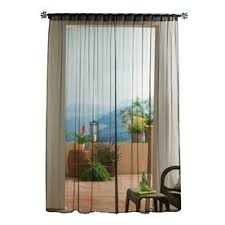 Black Outdoor Curtains Solaris Mesh 96 In Black Polyester Back Tab Sheer Single Curtain