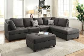 Black Fabric Sectional Sofas Poundex F6988 Fabric Sectional Sofa With Reversible Chaise