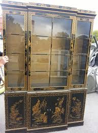 Drexel Heritage China Cabinet Asian China Cabinet 60 Black Lacquer Pearl Figure Motif China
