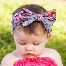 baby headwraps hot pink silver floral print fabric hair bow headband