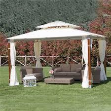 giardini con gazebo gazebo giardino top alluminio e legno con telo poliestere 3x4 m