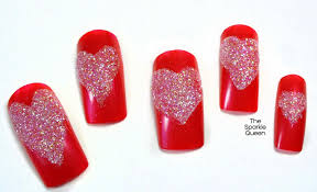 easy glitter heart nail art video tutorial a sparkly life for me