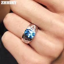 aliexpress buy mens rings black precious stones real men rings genuine topaz gem real 925 sterling silver
