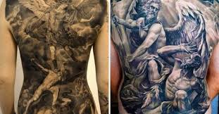 black and grey archangel michael tattoo on man full back