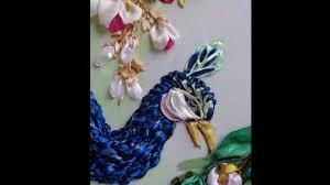 ribbon embroidery flower garden peacocks in garden ribbon embroidery youtube