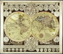 Canvas Map Of The World by Map Of The World And Celestial Bodies By Adam Friedrich Zuerner
