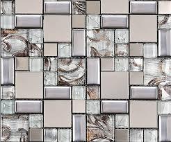 Glass Mosaic Tile Backsplash SSMT Silver Metal Mosaic Stainless - Silver backsplash