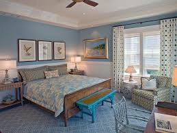 Fancy Blue Theme With Large Motif Floor And Cute Draw Curtain On - Beach cottage bedroom ideas