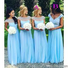 2017 Light Sky Blue Long Bridesmaid Dresses Scoop Vneck Beads Pearls