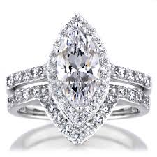 marquise cut engagement rings marquise cut cz engagement ring and guard set