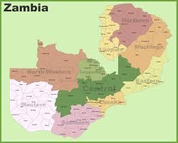 map of zambia zambia districts map