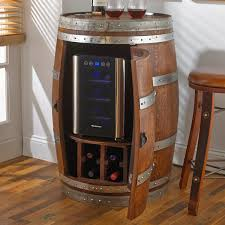 Whiskey Barrel Kitchen Table Reclaimed Wine Barrel With 6 Bottle Wine Refrigerator Wine